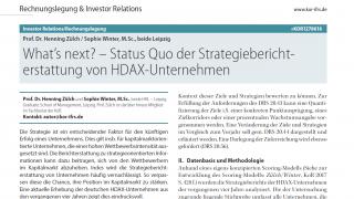 What's next? - Status Quo der Strategieberichterstattung von HDAX Unternehmen
