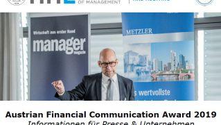Austrian Financial Communications Award 2019 – Der härteste Kapitalmarktwettbewerb Österreichs geht in die vierte Runde!