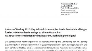 Investors' Darling 2020: Kapitalmarktkommunikation in Deutschland ist gefordert – Die Pandemie zwingt zu einem Umdenken
