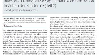 Investors' Darling 2020: Kapitalmarktkommunikation in Zeiten der Pandemie (Teil2) - Sonderpreise und Corona-Score -