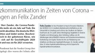 Finanzkommunikation in Zeiten von Corona - Elf Fragen an Felix Zander